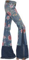Roberto Cavalli Floral Printed Flared Denim Jeans