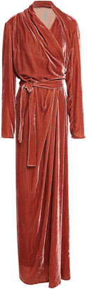 Rick Owens Draped Crushed-velvet Wrap Gown