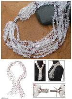 Quartz and garnet long beaded necklace, 'Sparkling Crystal Scarf'