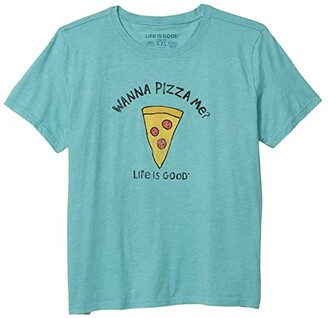 Life is Good Wanna Pizza Me? Cool Tee (Little Kids/Big Kids) (Harbor Blue) Boy's T Shirt