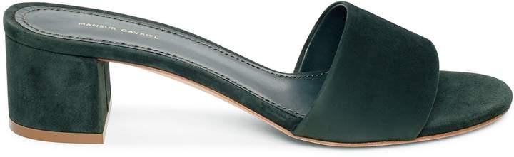 Mansur Gavriel Suede 40mm Single Strap Sandal - Moss