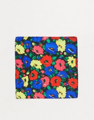 ASOS DESIGN pocket square in bright floral design cravat