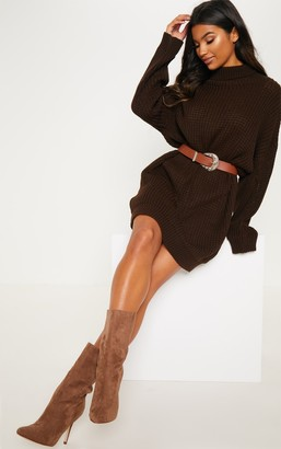 SWAGGER Brown Oversized High Neck Knitted Jumper Dress