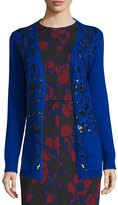 Oscar de la Renta Sequin-Embellished Long Cardigan, Royal