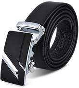 OXU Leather Belts For Men Automatic Silver Buckle Leather Genuine