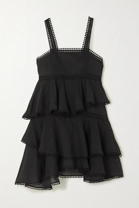 Charo Ruiz Ibiza Ellen Crocheted Lace-trimmed Tiered Cotton-blend Voile Mini Dress - Black