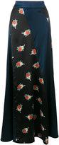 Ganni Glenmore floral print panelled maxi skirt