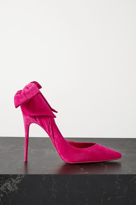Christian Louboutin Rabakate 100 Bow-embellished Suede Pumps - Fuchsia