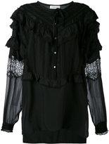 Faith Connexion sheer sleeve ruffle blouse