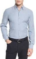 Ermenegildo Zegna Flannel Long-Sleeve Sport Shirt, Light Blue