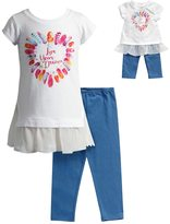 "Dollie & Me Girls 4-14 Live Your Dream"" Glitter Graphic Chiffon Mini Dress & Capri Leggings Set"