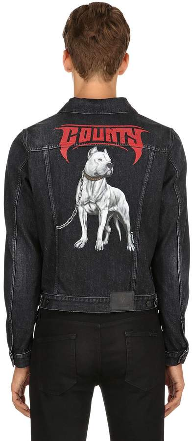Marcelo Burlon County of Milan Slim Fit Dogo Print Denim Jacket