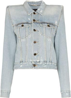 Saint Laurent Exaggerated Shoulder Denim Jacket
