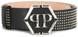 Philipp Plein Logo Plaque Studded Belt