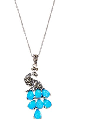 Tori HillSterling Silver Simulated Blue Opal & Marcasite Peacock Pendant