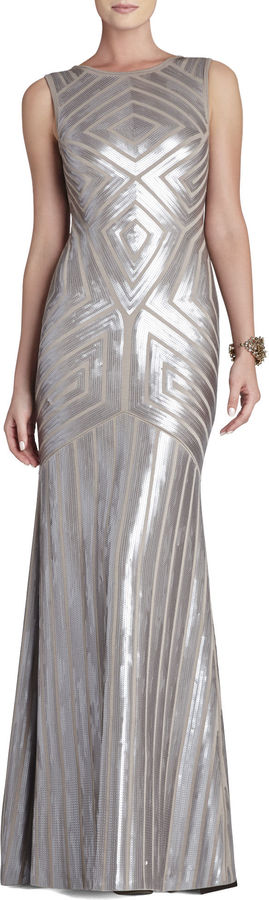 BCBGMAXAZRIA Agne Open-Back Geo-Sequined Maxi Dress