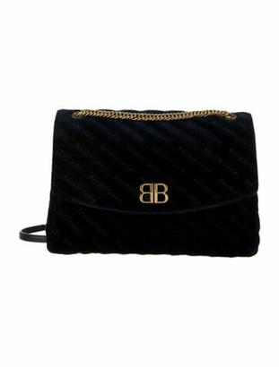 Balenciaga 2018 Large Quilted Velvet BB Shoulder Bag Navy