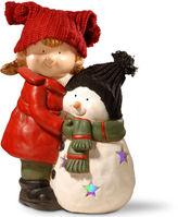 National Tree Co 15i Lighted Girl & Snowman Dcor