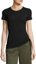 Theory Jilaena T Ruched-Side Ribbed T-Shirt, Black