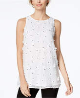 Charter Club Crew-Neck Floral-Applique Shell, Created for Macy's