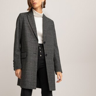 La Redoute Collections Checked Single-Breasted Coat