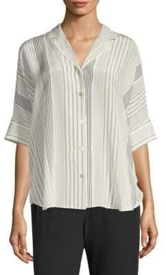Eileen Fisher Women's Classic Notch Collar Silk Button-Down Shirt - Bone - Size Large