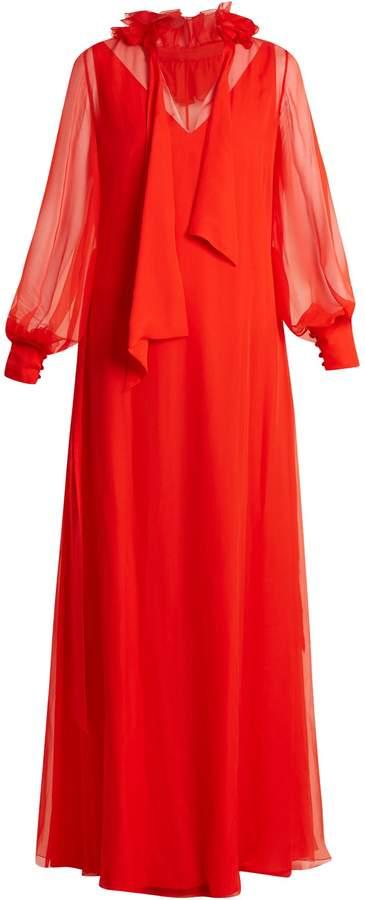 Lanvin Ruffled-collar waist-tie silk-mousseline gown