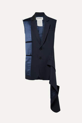 Monse Asymmetric Distressed Pinstriped Satin And Wool-blend Vest - Navy