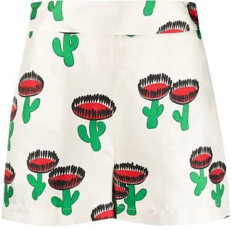 La DoubleJ Cactus Print Silk Shorts