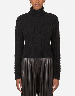 Dolce & Gabbana Cable-Knit Cashmere Turtle-Neck Sweater
