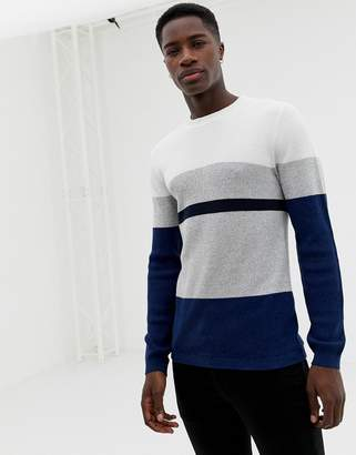 Selected knitted sweater with block stripes-Navy