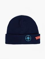 Raf Simons Blue Patch-Detail Beanie Hat