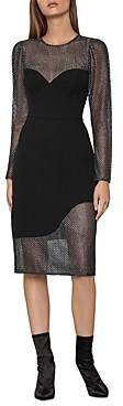 BCBGMAXAZRIA Metallic-Lace Panel Sheath Dress