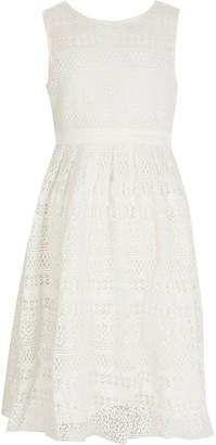 River Island Girls Chi Chi white crochet tie back dress