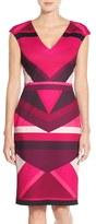Vince Camuto Colorblock Scuba Sheath Dress (Regular & Petite)