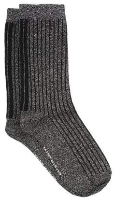 Isabel Marant Lily Striped Metallic Jersey Socks - Womens - Silver