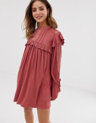 Asos Design DESIGN high neck lace insert crinkle swing dress-Pink