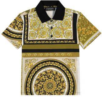 Versace Kids Barocco Mosaic cotton polo shirt
