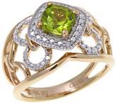 Sevilla Silver with Technibond Cushion-Cut Peridot Diamond-Accented Ring