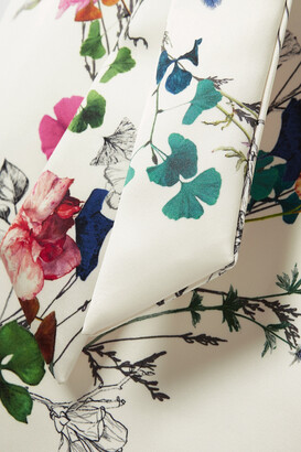 Monique Lhuillier Belted Floral-print Duchesse-satin Gown - White