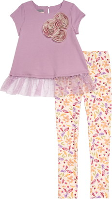 Pippa & Julie Flower Trim T-Shirt & Leggings Set
