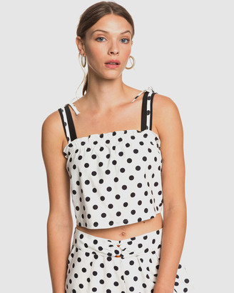 Roxy Womens Palm Life Dots Strappy Crop Top