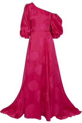 Carolina Herrera Off-the-shoulder Polka-dot Fil Coupe Silk-blend Gown