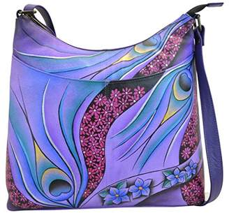 Anuschka Anna by Women's Genuine Leather Large Cross Body with External Pocket | Hand Painted Original Artwork |