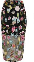 River Island Womens Black floral embroidered midi pencil skirt