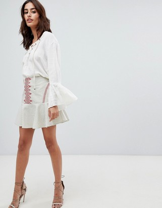 The Jetset Diaries Essence Embroidered Fluted Mini Skirt-Cream