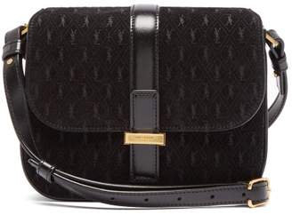 Saint Laurent Mini Monogrammed Suede Shoulder Bag - Womens - Black