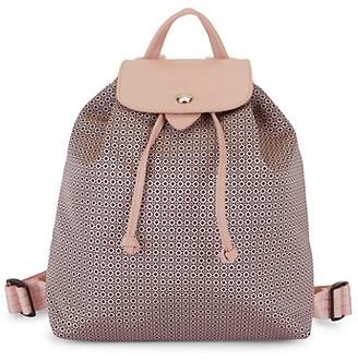 Longchamp Print Leather-Trim Drawstring Backpack