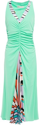 Emilio Pucci Pleated Printed Crepe De Chine-paneled Ruched Jersey Dress