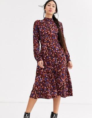 Monki confetti print high neck midi dress in burgundy